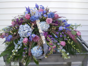 Casket Spray Blues and Purples your flower shop in Wyckoff, NJ