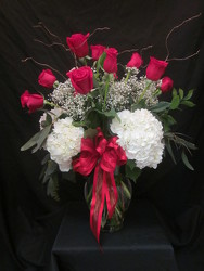Over The Top Red Roses with Hydrangea your flower shop in Wyckoff, NJ