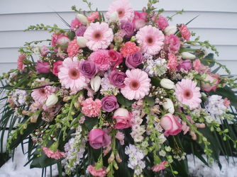 Elegant Pink and Lavender Casket Spray your flower shop in Wyckoff, NJ
