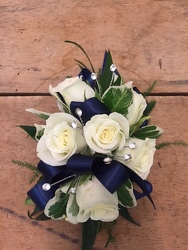 White & Navy Wristlet your flower shop in Wyckoff, NJ