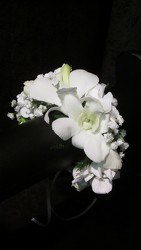 White dendrobium orchid bracelet your flower shop in Wyckoff, NJ